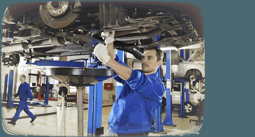 Mechanic working on an oil change